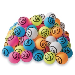 Ping Pong Style Replacement Bingo Balls, Multi-Colored (Set of 75) - Image 1 of 4