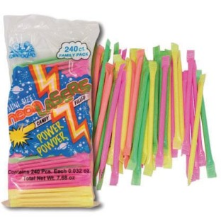 Albert's Mini Neon Lasers Candy Powder Filled Straws (Pack of 240) - Image 1 of 2