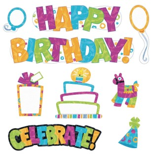 Color Harmony Wipe-Off® Birthday Bulletin Board Decoration Set - Image 1 of 2