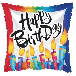 "Happy Birthday Mylar Square Balloons, Blow out the Candles, 17"" (Pack of 10) - Image 1 of 1"