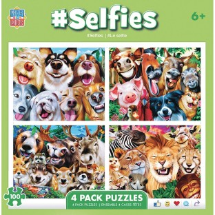 MasterPieces® Animal Selfie 4-Puzzle Multipack - Image 1 of 1