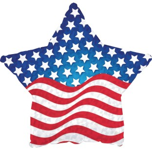 "Patriotic Balloon with Flag Design, 17"" Star Shaped (Pack of 10) - Image 1 of 1"