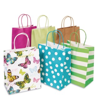 "Gift Bags with Coordinated Colored Raffia Handles, 8"" x 10"", Assorted Colors and Print (Pack of 13) - Image 1 of 6"