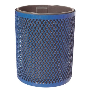 Blue Trash Receptacle with Lid and Liner - Image 1 of 2