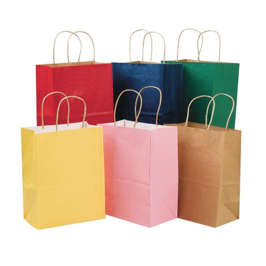 Craft Gift Bags With Natural Handles 8 X 10 Assorted Colors Pack Of 12