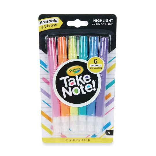 Crayola® Take Note!™ Erasable Highlighters (Pack of 6)