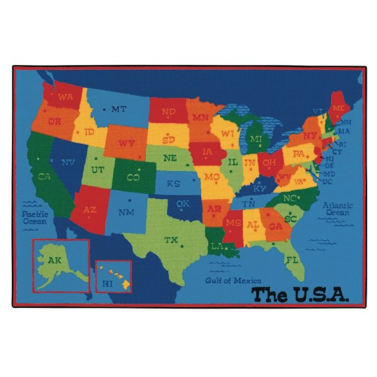 Buy Usa Map Kids Value Rug 6 X 9 At Ss Worldwide - Us-map-for-kids