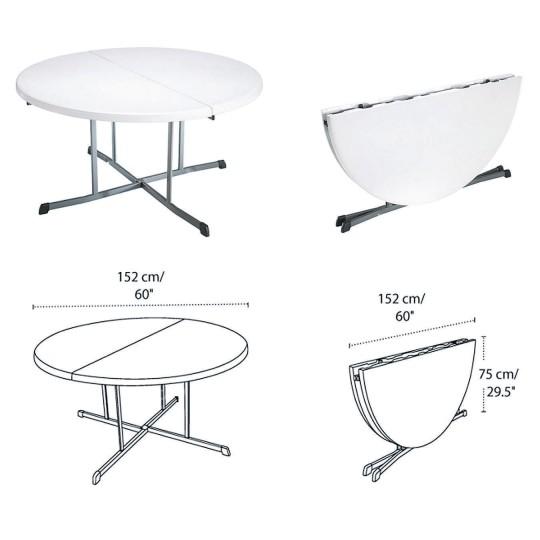 Cool Buy Lifetime 5 Round Fold In Half Folding Table At Ss Download Free Architecture Designs Rallybritishbridgeorg
