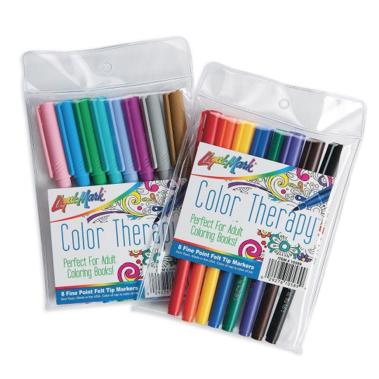 Color Therapy Fine Tip Adult Coloring Markers Set Of 16